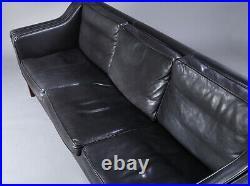 Vintage Danish MID Century Stouby 3 Person Sofa In Black Leather Model Eva