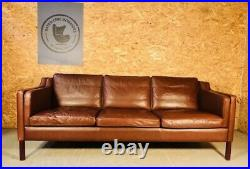 Vintage Danish MID Century Stouby 3 Person Sofa In Cognac Leather