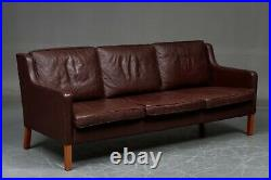 Vintage Danish MID Century Stouby 3 Person Sofa In Cognac Leather Model