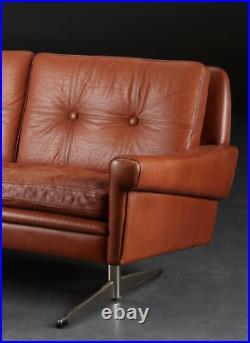 Vintage Danish MID Century Svend Skipper 2 Person Cognac Sofa 1964
