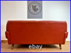 Vintage Danish MID Century Svend Skipper Cognac 2 Person Sofa 1964