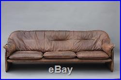 Vintage De Sede Leather Sofa Couch Desede Baughman Italian Knoll Danish Modern