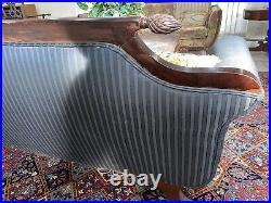 Vintage Duncan Phyfe Mahogany Settee W Damask Black On Black Stripe Washable Fab