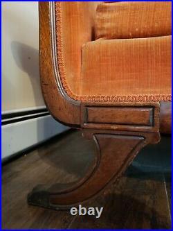 Vintage Duncan Phyfe Sofa Claw Foot Orange Velveteen