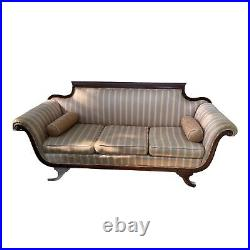 Vintage Empire Mahogany Sofa Settee Couch Victorian Paw Foot