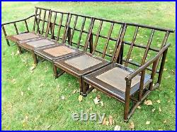 Vintage Ficks Reed 5 Pc. Rattan Sectional Sofa MCM Bamboo Lounge Chair Set