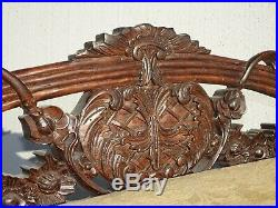 Vintage French Country Low Profile Ornately Carved Gold Settee Bench