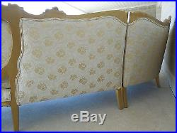 Vintage French Louis XV Style 3 Section Tufted Back Gilt Wood Frame Sofa