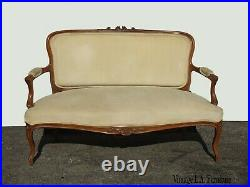 Vintage French Provincial Country Gold Velvet Settee Loveseat Rococo Louis XVI