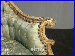 Vintage French Provincial Louis XVI Rococo Green Tufted Down Settee Loveseat