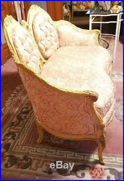 Vintage French Provincial Louis XV Style Settee Sofa Canape Pink