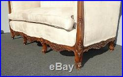 Vintage French Provincial Off White Settee Loveseat Goose Down Feathers Cushion