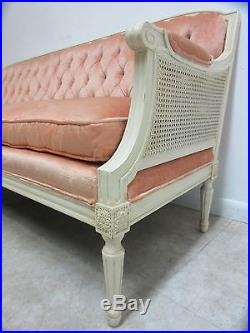 Vintage French Regency Tufted Double Cane Sofa love seat Couch settee
