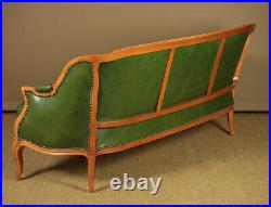 Vintage French Three Seater Green Leather Sofa
