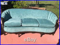 Vintage French Victorian Parlor Set Sofa And Matching Arm Chair
