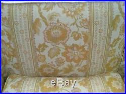 Vintage HENREDON SCHOONBECK Floral Sofa Couch Ivory w Green Orange Yellow EVC