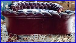 Vintage Hancock & Moore Chesterfield Sofa tufted button Red Oxblood Leather