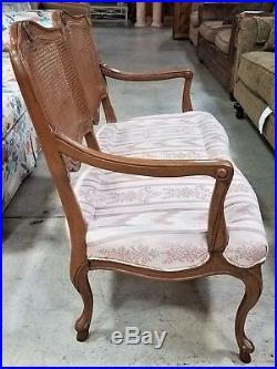 Vintage Hand Carved Wood & Cane Back Custom Made Settee Loveseat Bench
