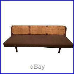 Vintage Hans Wegner Convertible Sofa/ Daybed With Rattan Back