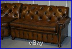 Vintage Harrods Chesterfield Hand Dyed Cigar Brown Leather Corner Sofa Walnut