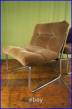 Vintage Herlag Sessel Retro Easy Chair Danish Chrom Cord 70er 1/2