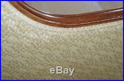Vintage Hollywood Regency Curved Sofa, Cream Brocade