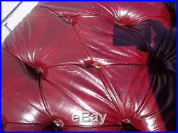 Vintage Leather English Chesterfield Sofa Couch Loveseat Tufted Settee Rustic