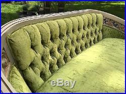 Vintage Louis XVI Style Settee in Green Velvet French Provincial Loveseat