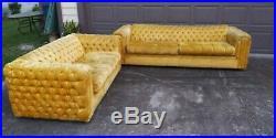Vintage MID Century Golden Yellow Velvet Button Back Chesterfield Sofa Set