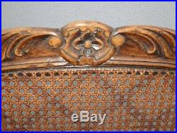 Vintage Martin of London French Country Brown Ornately Carved Cane Settee Bench