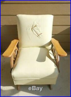 Vintage Mid Century Cowboy Western Wagon Wheel Dude Ranch Sleeper Sofa Chair Set