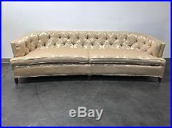 Vintage Mid Century Hollywood Regency Curved Tufted Sofa