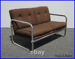 Vintage Mid Century Modern Brown Chrome Brown Tweed Settee Loveseat