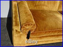 Vintage Mid Century Modern Chinoiserie Gold Velvet Ming Sofa w Asian Motif