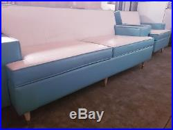 Vintage Mid-Century Modern Couch Sofa & Chair Vinyl Leather White Teal ART DECO
