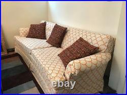 Vintage Mid Century Modern Sofa Couch Ivory pattern hollywood regency era