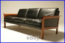 Vintage Mid-century Danish Teak Frame Leather 3 Seat Sofa Free UK Delivery