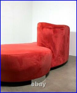 Vintage Red Vladimir Kagan Style Cloud Sofa Serpentine Mid Century Modern Chrome