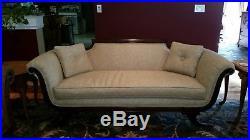 Vintage Regency Sofa Mahogany trim Regency style couch with original brass feet