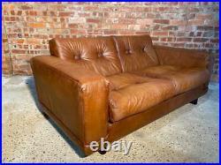 Vintage Retro Danish 1970 Tan Two seater Buffalo Leather Sofa