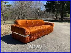Vintage Sofa Couch Settee Crushed Velvet Tufted Mid-Century Orange Crush A+