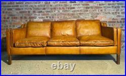 Vintage Stouby Danish 1970 Tan Coloured Three seater Mogensen Style Leather Sofa
