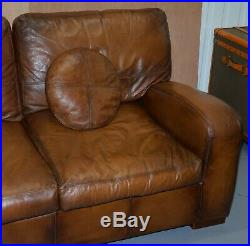 Vintage Style Hand Dyed Cigar Brown Leather Sofa Lovely Style And Design