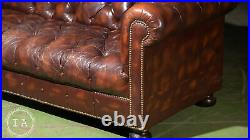 Vintage Tufted Leather Chesterfield Sofa In Brown