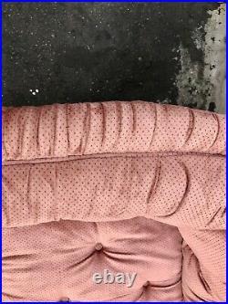 Vintage Velvet Cabriolet Arm Chesterfield Sofa