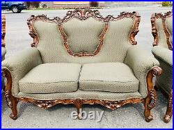 Vintage Victorian Italian French Sofa Settee Chair 3pc Living Room Carved Ornate