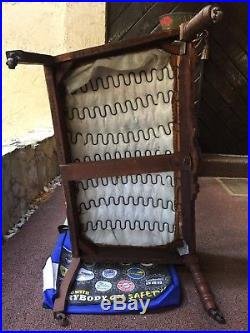 Vintage Victorian Style Carved Leather Love Seat Settee wheels/casters antique
