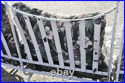 Vintage Woodard Andalusian Wrought Iron 3 Piece Curved Sunroom Garden Patio Sofa