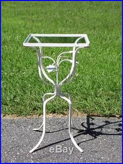 Vintage Wrought Iron Ivy Leaves Patio Table Plant Stand with Glass Top