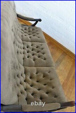 Vintage X Frame buttoned slipper relaxer sofa / settee